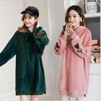 Maternity Velvet Hoodies Tops Rabbit Hooded velvet sweater Dress Autumn Winter Pregnancy Clothes Coat Hoodie For Pregnant Women