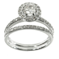 Sterling Silver Wedding Ring Set with Halo CZ Engagement 2 Ring and Band size 5-10