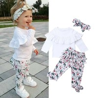 Toddler Kids Baby Girl Ruffle Tops+Floral Long Pants+Headband Outfits Clothes