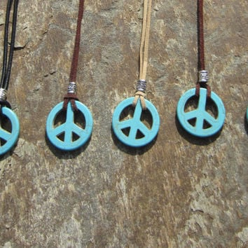 Peace Sign Necklace, Teen Jewelry, Peace Symbol Pendant, Suede Leather Necklace, Unisex Peace Sign Necklace, Hippie Jewelry,  boho necklace
