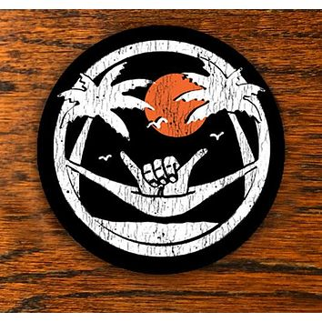 Shaka Sundown - Black - All weather vinyl sticker