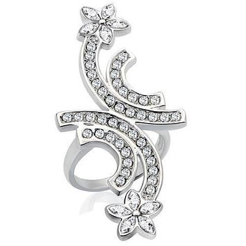 Rhodium Brass Ring with Top Grade Crystal