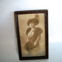 Vintage Framed Wooden Photo Woman In Hat And Fur Shawl Sepia Tone 1930s Measures 8 And  5/8 inches tall X 5 & 1/4 Inches wide