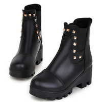 Studded Ankle Boots Platform High Heels Shoes Woman 3272 3272