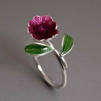 Big Flower Statement Sterling Silver Ring Blossoming with Green Leaves Custom Enamel Colors Happy Fresh Fashion Novelty Ring Gift for Her