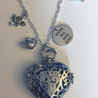 Alice in Wonderland, Pocketwatch, Disney, Necklace, White Rabbit, We're all mad here, Heart, Queen of Hearts, Quirky, Alternative Jewellery