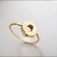 Gold Hex Nut Ring  Steampunk Ring by Flavia Bennett Designs