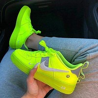 Nike Air Force 1 Fluorescent Green Couple Sports Shoes Green
