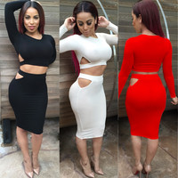 Long Sleeve Cropped Top and Bodycon Midi Skirt