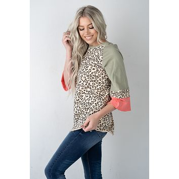 Olive Coral and Leopard Top (S-3X)