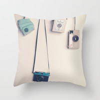 Hanging Cameras II Throw Pillow by Andrea Caroline