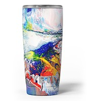 Bright White and Primary Color Paint Explosion - Skin Decal Vinyl Wrap Kit compatible with the Yeti Rambler Cooler Tumbler Cups