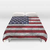 USA Grunge Flag Duvet Cover by Alice Gosling
