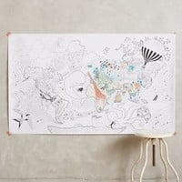 Let's Travel Coloring Mural by Anthropologie Black & White One Size Wall Decor