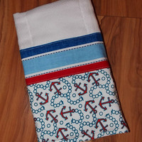 Baby Burp Cloths/ Anchor/ Cotton/ Set of 2 with Applique