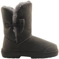 Womens Faux Fur Lined Thick Sole Toggle Winter Snow Boots