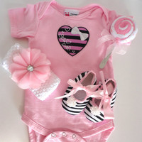 Onesuit, Crib Shoes, and Headband Gift Set Size 6 Months