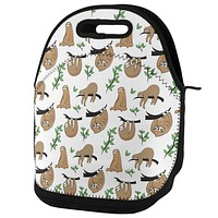 Sloth Pattern Nature Leaves Cute Lunch Tote Bag