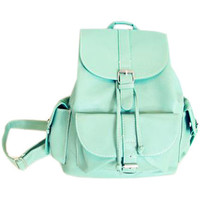 ROMWE   Magnetic Button Multi-pockets Mint Green Backbag(Halloween sale on Oct.26th), The Latest Street Fashion
