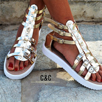 "Women Leather Sandal Gladiator ""wild edition"", strappy sandals, genuine leather, gold sandals, Gladiator Sandals, women sandals"