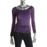 Catherine Malandrino Womens Pointelle Knit Top