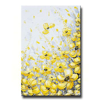 GICLEE PRINT Art Yellow Grey Abstract Painting Poppy Flowers Coastal Art Canvas Prints Gold White