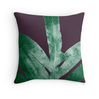 'Green Fall Fern Purple' Throw Pillow by ANoelleJay