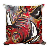 Arkansas Razorback Jason Lahay Painted Square Pillow