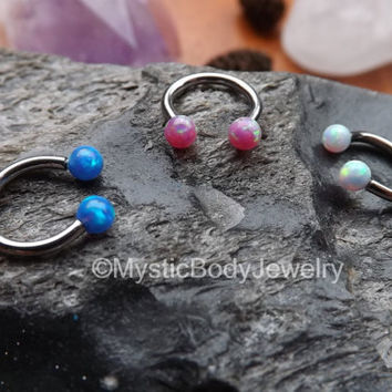 "16g Opal Septum Nose Ring 5/16"" Silver Horseshoe White Gemstone Pink Blue Opals Helix Hoop Earrings Cartilage Dainty Earring Piercing Tragus"