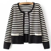 Round Neck Mosaic Striped Long Sleeve Knit Outerwear