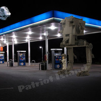 Art Print Star Wars Lego Death Star AT-ST Gas Station Themed Photomontage 30x24 Poster