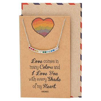 Rossana Swarovski Rainbow Pendant Necklace Inspirational Quote With Greeting Card