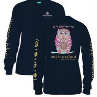 *Closeout* Simply Southern Long Sleeve Tees - WHOO OWL Large