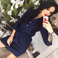 Women Straight Casual Mini dress Vestidos 2018 Spring Three Quarter Sleeve Solid Party Dress Office Workwear Dresses Plus Size