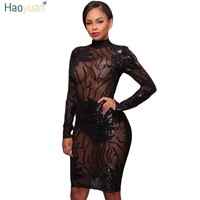 HAOYUAN Sexy sequin dress 2017 autumn winter black gold see through long sleeve backless bodycon women night club party dresses