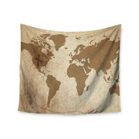 """Treasure Map"" World Map Wall Tapestry"