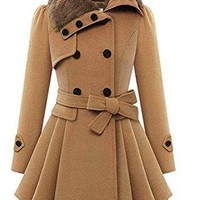 Knight Horse Womens Faux Fur Lapel Double Breasted Wool Trench Coats Jacket Outcoat