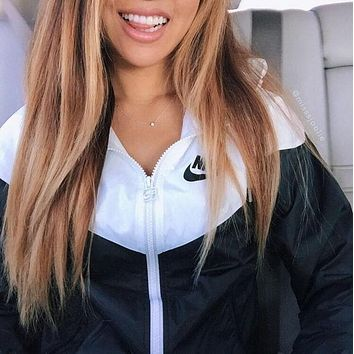 NIKE Summer Fashion Hooded Sweatshirt Thin Zipper Cardigan Coat Jacket Windbreaker Fitness Gym Casual Exercise Sportswear
