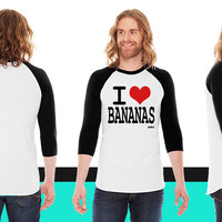 i love bananas by wam American Apparel Unisex 3/4 Sleeve T-Shirt