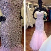 Luxury Sparkly Crystals Pink Prom Dresses Mermaid 2016 Beaded Formal Lace Up Back Prom Party Dress Formal Gown vestido de festa