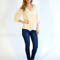 Raylee Crochet Detailed Knit Top: Ivory