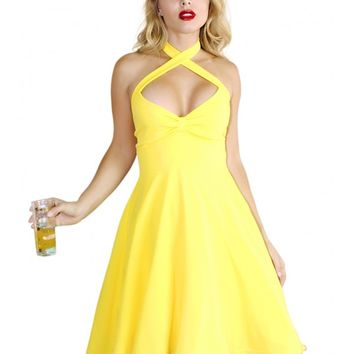 Demi Loon Women's Holly Halter Pinup Dress - Yellow