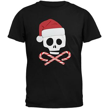 Skull And Cross Candy Canes Santa Black Youth T-Shirt