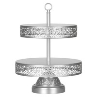 2-Tier Reversible Dessert Cupcake Stand (Silver)