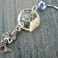 beach mermaid dreamcatcher belly ring mermaid seashell gemstones in fantasy belly dancer indie gypsy hippie morrocan boho and hipster style