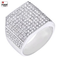 Jewelry Kay style Iced Out Hip Hop 14k Gold Plated Micro Pave AAA CZ Hand Setting Men's Pinky Ring