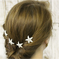 STARFISH rhinestone  hair pins - set of 4
