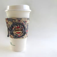 Sock Monkey Coffee Cup Cozy / Classic Toy Drink Sleeve / Monkies / Brown & Gray / Polka Dot / Insulated Cup Sleeve