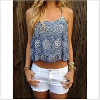 Hot Popular Summer Women Floral Printed Floral Printed Spagehetti Strap Top Women Tank Vest _ 13300