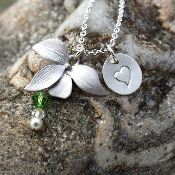 Personalized Orchid necklace with rhodium plated charm and stamped initial tag in sterling silver- Swarovski crystal colour customisable